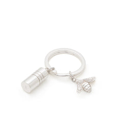 Small Sterling Silver Memories Capsule and Bee Charm Key Ring by Memories of Growing Up