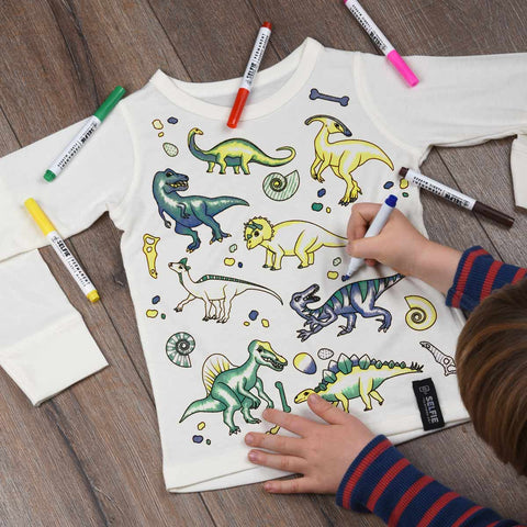 Dinosaur Colour In Top With Fabric Pens
