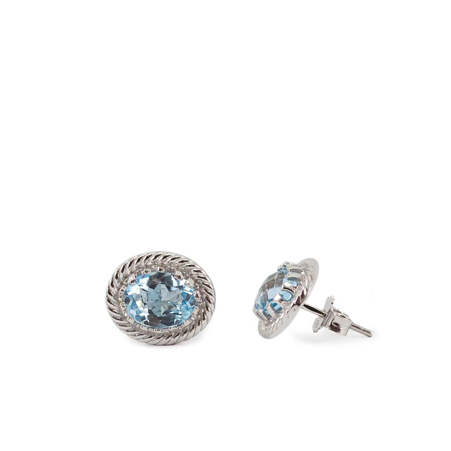 Luccichio Blue Topaz Silver Stud Earrings