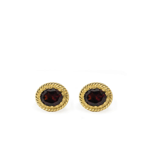 Luccichio Garnet Gold Stud Earrings