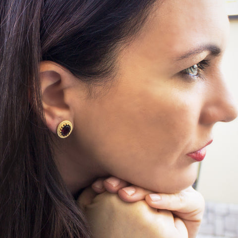 Luccichio Garnet Gold Stud Earrings by Vintouch Jewels on OOSTOR.com