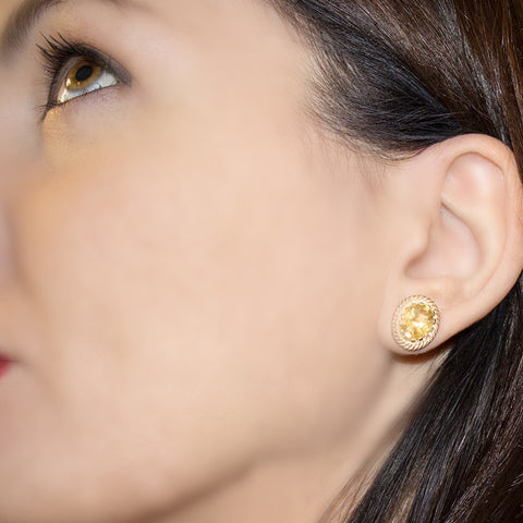Luccichio Citrine Quartz Gold Stud Earrings