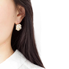 Golden White Cloud Rose Hook Earrings by POPORCELAIN on OOSTOR.com