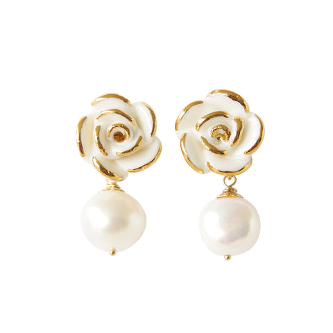 Golden White Cloud Rose Pearl Drop Earrings by POPORCELAIN on OOSTOR.com