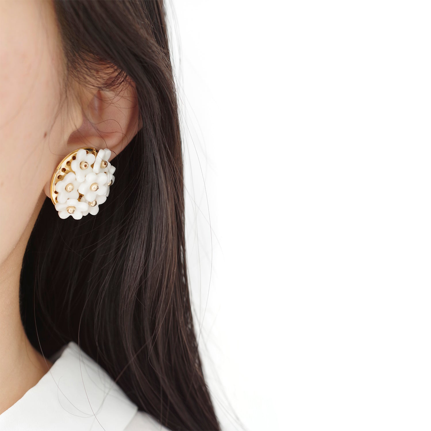 Mini Daisy Cluster Clip Earrings by POPORCELAIN on OOSTOR.com
