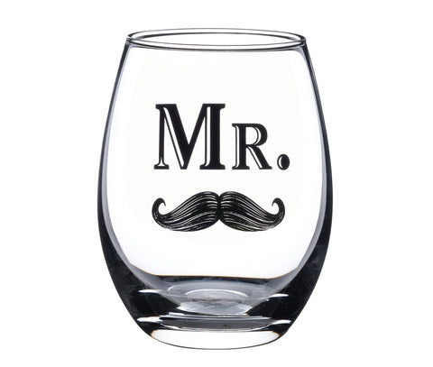 Mr. Wine Glass With Moustache by Sole Favors on OOSTOR.com