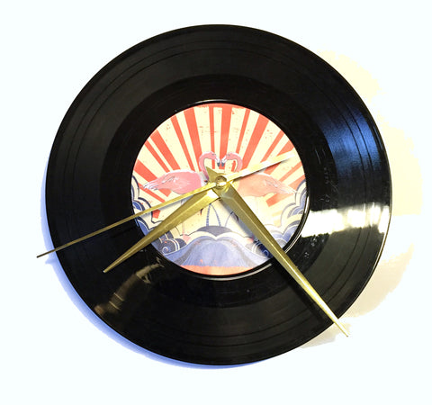 Flamingo Vinyl Record Clock