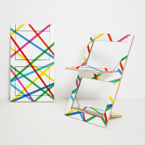 Fläpps Folding Chair – Coloured Lines by Ambivalenz