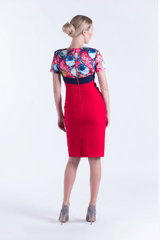 Florida dress in red print