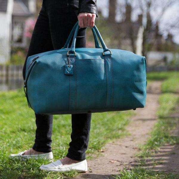 Archie's Duffle - Signature Blue w/ Red Stitching w/ Side Pocket by Fox Archer on OOSTOR.com