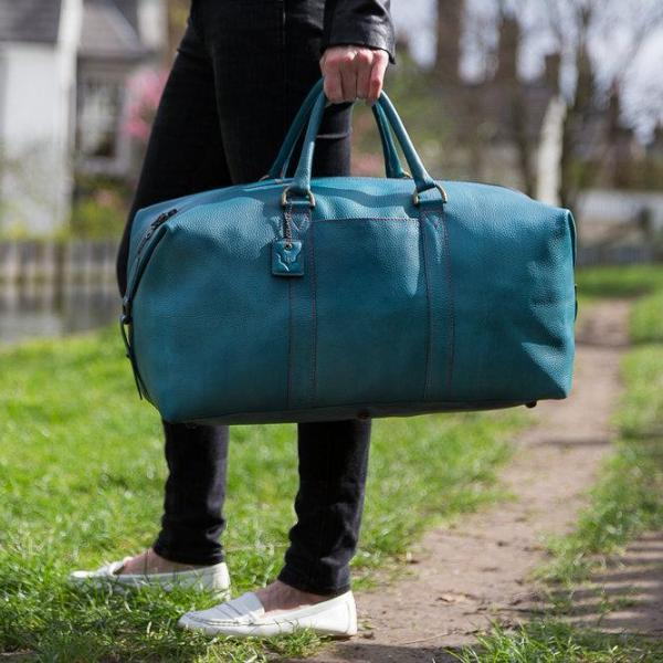 Archie's Duffle - Signature Blue w/Pink Stitching w/Side Pocket by Fox Archer on OOSTOR.com