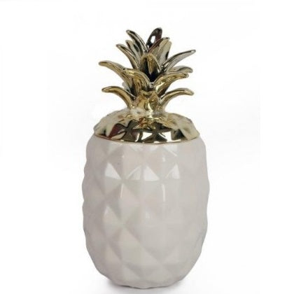 White & Gold Ceramic Pineapple by Sole Favors on OOSTOR.com