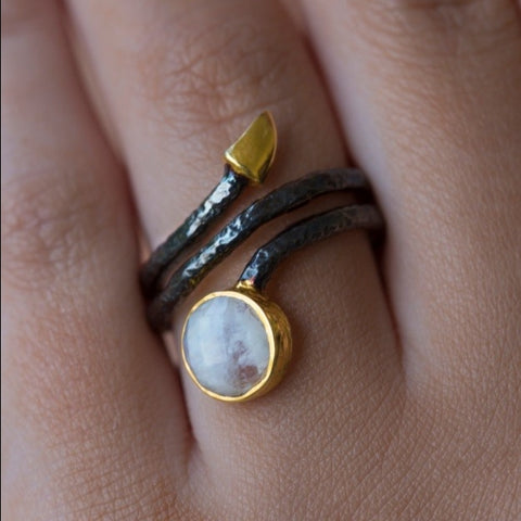 Coil Ring With Rainbow Moonstone by Jasmine White on OOSTOR.com
