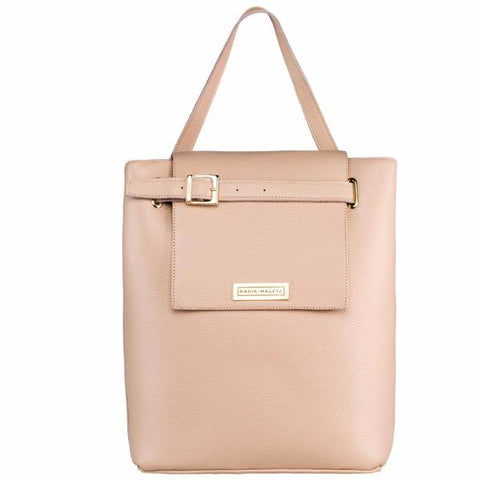 Nude Bucket Bag by Maria Maleta on OOSTOR.com