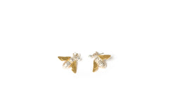Solid silver drop earring with 18k gold vermeil detail