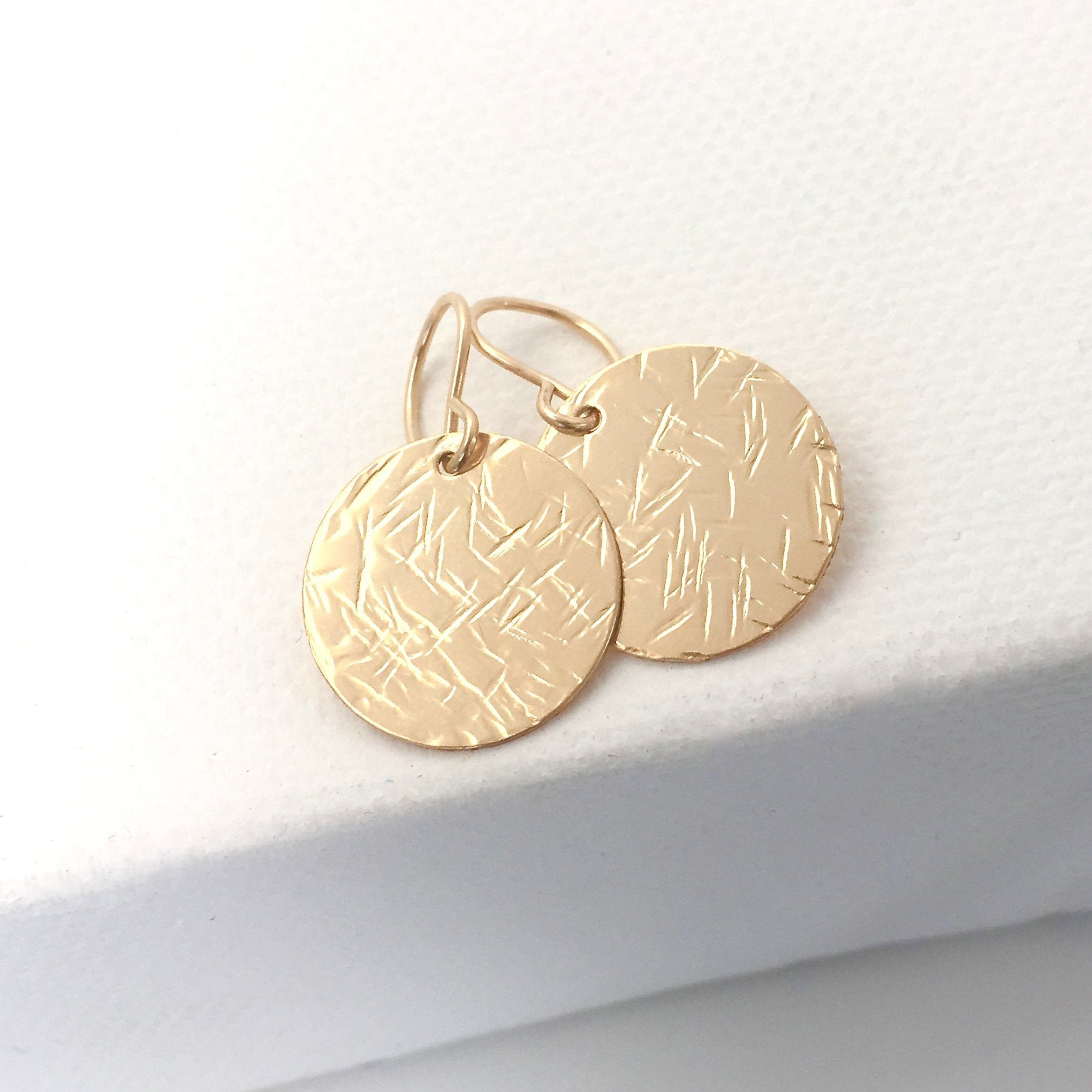 Gold Hammered Disc earrings