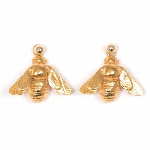 Solid silver drop earring with full 18k vermeil gold