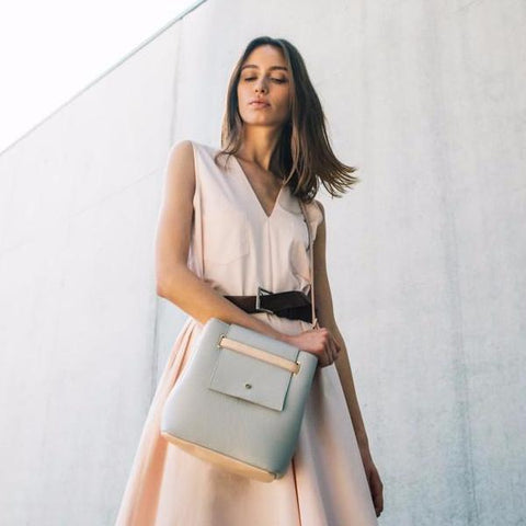 Mini Nude Bucket Bag by Maria Maleta on OOSTOR.com