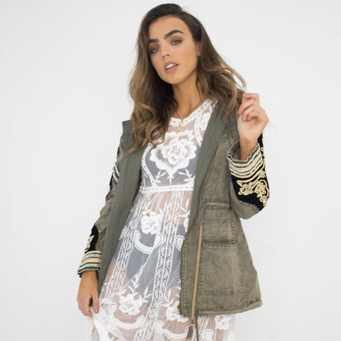 Green Embellished Parka by Wired Angel Ltd on OOSTOR.com