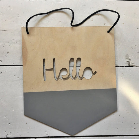 Hello Wooden Wall Hanging Sign for Kids Room