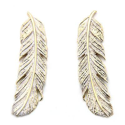 Feather Earrings Gold-White
