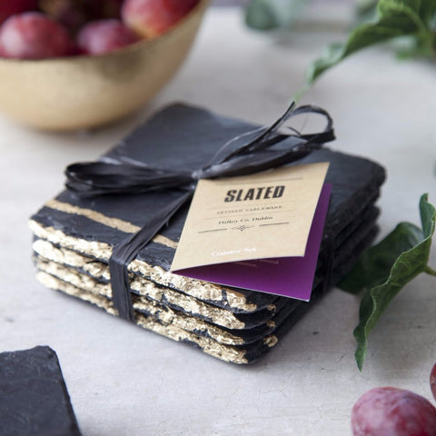 Gold Leaf Slate Coasters by Slated on OOSTOR.com