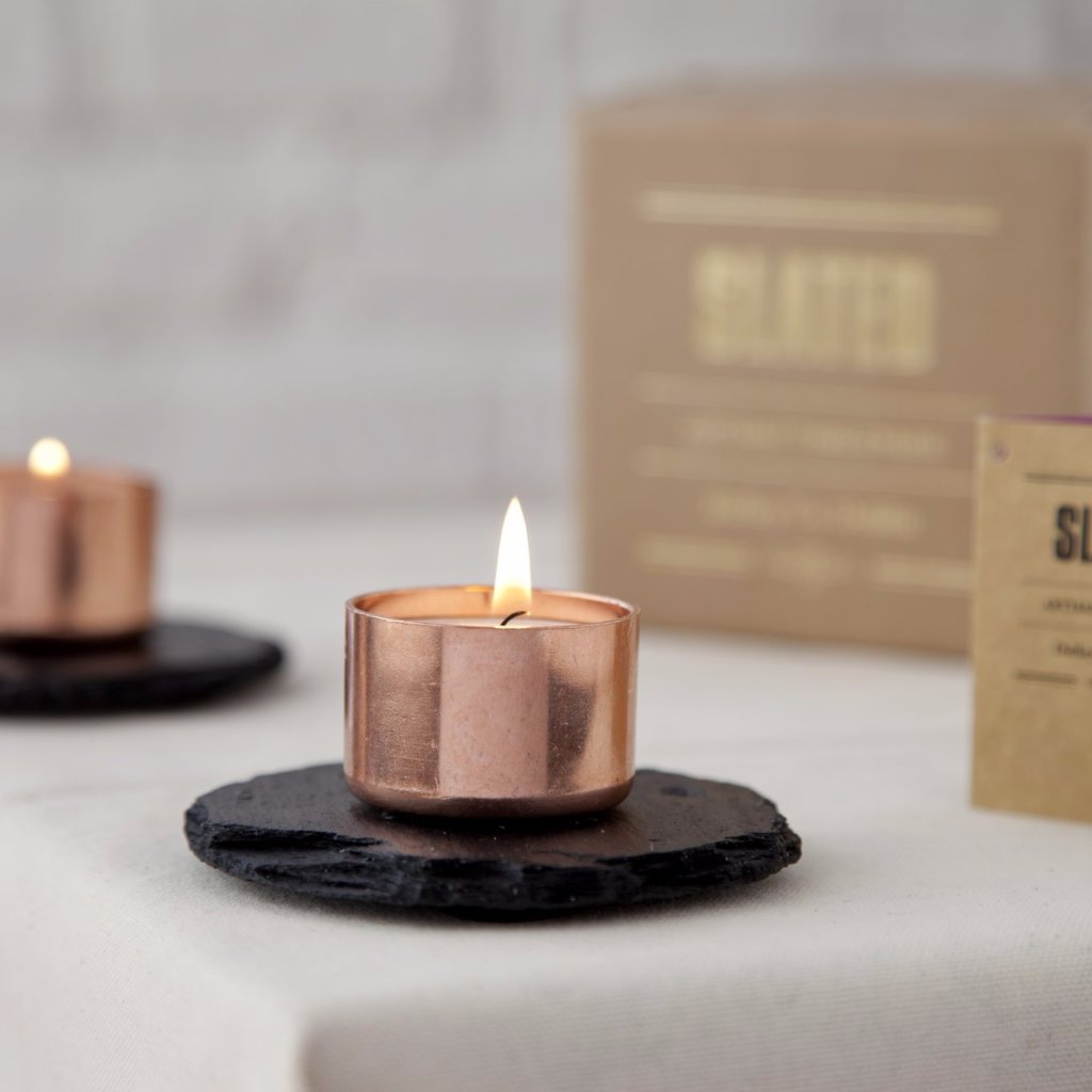 Slate & Copper Round Candle Holders by Slated on OOSTOR.com