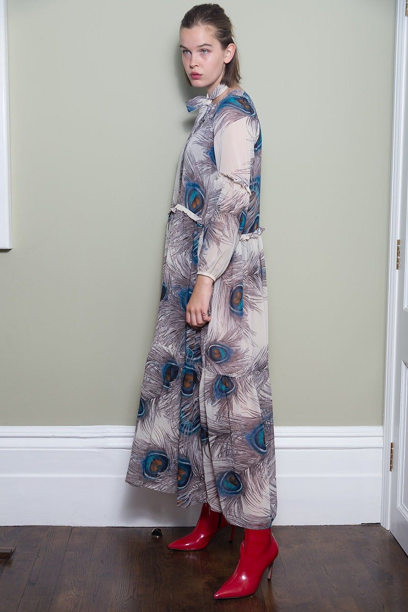 Peacock Maxi Dress With Frill Detail by Minkie London on OOSTOR.com