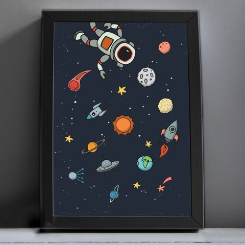 Space print with Astronaut, solar syster and spaceships for kids room or childs nursery