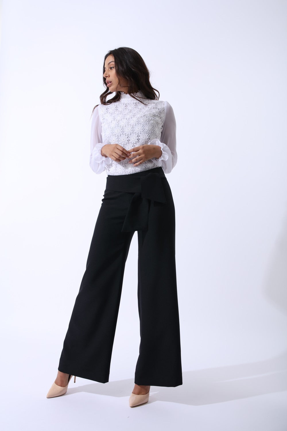 Black Swan Wide Leg Trousers by Zalinah White on OOSTOR.com