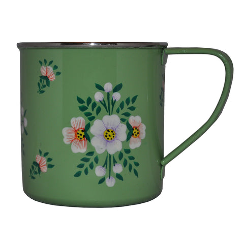 Sage Green & White Posy Enamelware Mug by Jasmine White on OOSTOR.com