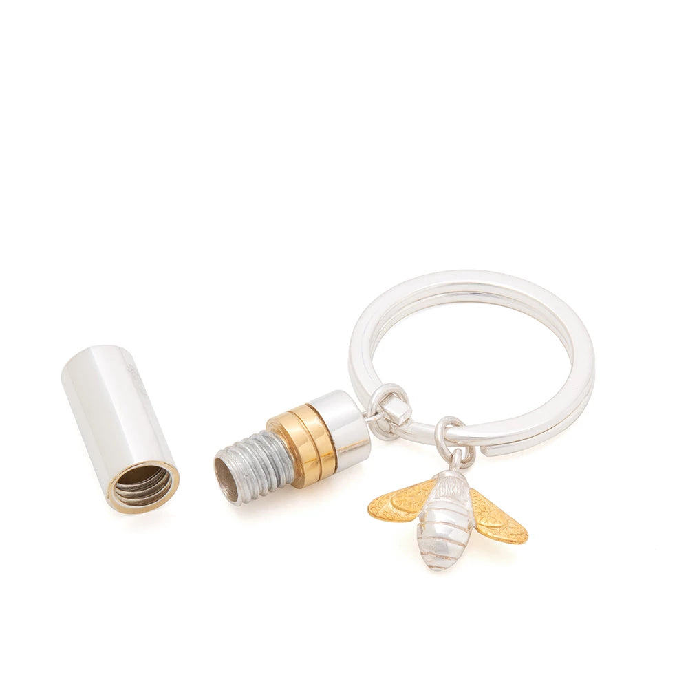 Large Sterling Silver and 18k gold vermeil detail Memories Capsule and Bee Charm Key Ring by Memories of Growing Up