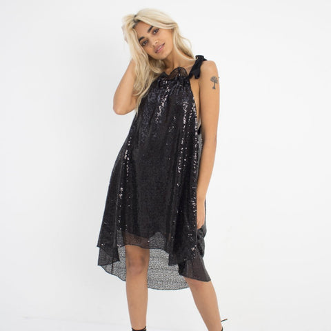 Black Sequin Swing Dress by Wired Angel Ltd on OOSTOR.com