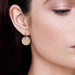 Large Gold Hammered Disc earrings