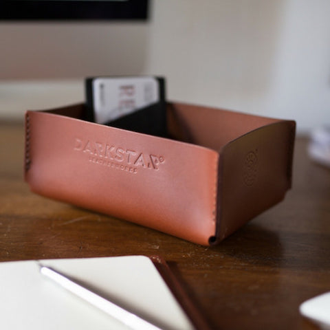 Leather Desk Tidy - Hand stitched