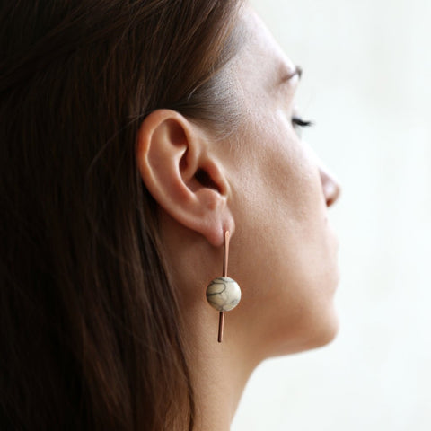Marble & Copper Stud Earrings With Sterling Silver Posts by Studio Beate Snuka on OOSTOR.com