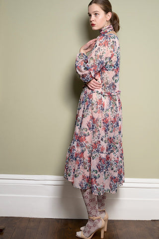 Floral Midi Dress With Frill Detail by Minkie London on OOSTOR.com