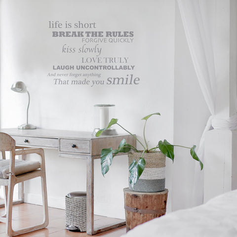 Life is Short- Smile Quote Wall Sticker