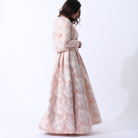 Nour Structured Pleated Maxi Skirt - Rose Gold by Zalinah White on OOSTOR.com