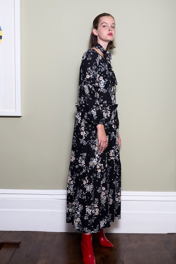 Floral Maxi Dress With Frill Detail by Minkie London on OOSTOR.com