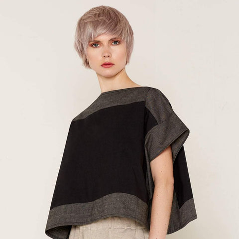 Luna Top - Black & Grey by Bo Carter on OOSTOR.com