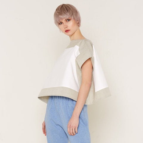 Luna Top - Beige & White by Bo Carter on OOSTOR.com