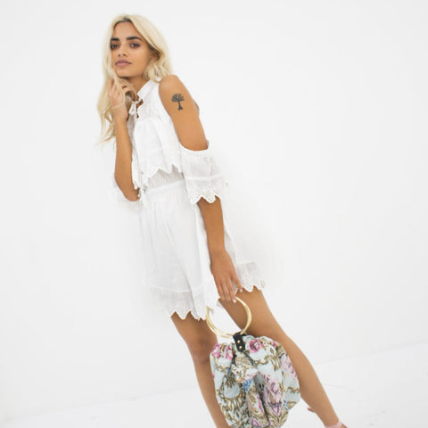 Sweet Love White Playsuit by Wired Angel Ltd on OOSTOR.com
