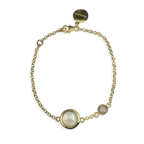 Satellites Lunar Stone & Opal Gold Bracelet by Vintouch Jewels on OOSTOR.com