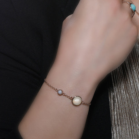 Satellites Lunar Stone & Opal Rose Gold Bracelet by Vintouch Jewels on OOSTOR.com