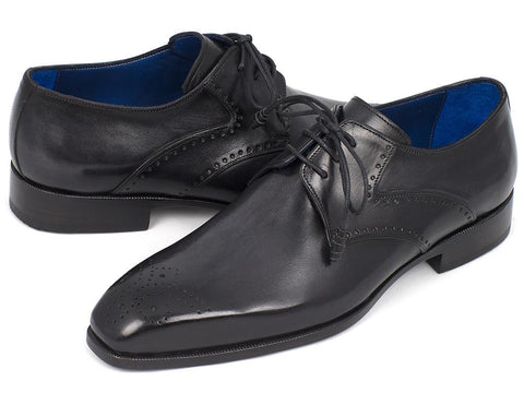 Paul Parkman Men's Black Medallion Toe Derby Shoes by PAUL PARKMAN on OOSTOR.com