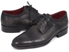 Paul Parkman Black Aged Leather Captoe Derby Shoes by PAUL PARKMAN on OOSTOR.com