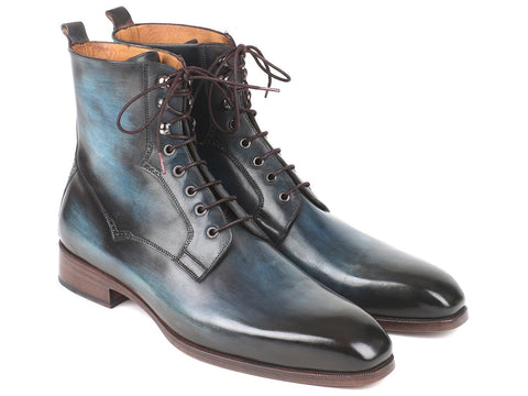 Paul Parkman Men's Blue & Brown Leather Boots by PAUL PARKMAN on OOSTOR.com