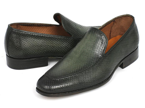 Paul Parkman Perforated Leather Loafers Green by PAUL PARKMAN on OOSTOR.com