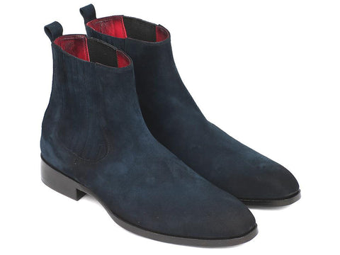 Paul Parkman Navy Suede Chelsea Boots by PAUL PARKMAN on OOSTOR.com